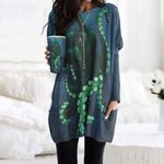 Octopus Pocket Long Top Women Blouse CH170205