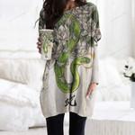 Snake Pocket Long Top Women Blouse CH050204