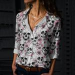 Skull Cotton And Linen Casual Shirt CH180201