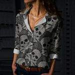 Skull Cotton And Linen Casual Shirt CH180204