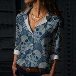 Skull Cotton And Linen Casual Shirt CH180205