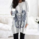 Seahorse Pocket Long Top Women Blouse CH180202