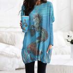 Seahorse Pocket Long Top Women Blouse CH180206