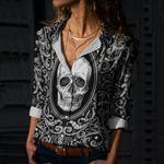 Skull Cotton And Linen Casual Shirt CH190299