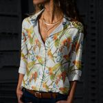 Parrot - Birdwatching - Birds Cotton And Linen Casual Shirt KH190212