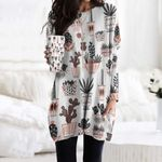 Mid-Century Modern Cacti - Cactus Pocket Long Top Women Blouse KH190205