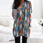 Watercolor Parrot - Birdwatching - Birds Pocket Long Top Women Blouse KH190211