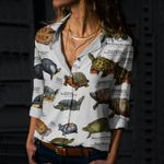Turtles And Tortoises Cotton And Linen Casual Shirt QA220201
