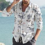 Whale - Owl - Birdwatching Cotton And Linen Casual Shirt KH220201