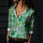 Clover - Leaves Cotton And Linen Casual Shirt KH220202