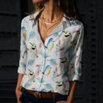 Birdwatching - Bird Cotton And Linen Casual Shirt KH220206
