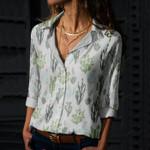 Succulents - Cactus - Cacti Cotton And Linen Casual Shirt KH220209