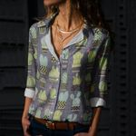 Gray Green Cactus Cotton And Linen Casual Shirt KH220213