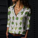 Succulents - Cactus - Cacti Cotton And Linen Casual Shirt KH220215