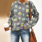Gray Green Cactus Unisex All Over Print Cotton Sweatshirt KH220213