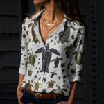 Turtles And Tortoises Cotton And Linen Casual Shirt QA220213