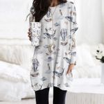 Whale - Owl - Birdwatching Pocket Long Top Women Blouse KH220201