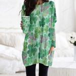 Clover - Leaves Pocket Long Top Women Blouse KH220202