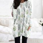 Succulents - Cactus - Cacti Pocket Long Top Women Blouse KH220209