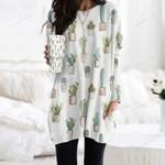 Succulents - Cactus - Cacti Pocket Long Top Women Blouse KH220211