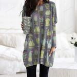 Gray Green Cactus Pocket Long Top Women Blouse KH220213