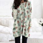 Succulents - Cactus - Cacti Pocket Long Top Women Blouse KH220216