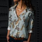 Set Of Horns - Moose And Deer Cotton And Linen Casual Shirt QA230202