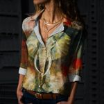 Elephant Cotton And Linen Casual Shirt CH230204