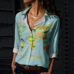 Dinosaur World Map Cotton And Linen Casual Shirt QA230205