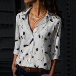 White Herons Cotton And Linen Casual Shirt QA230209