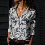 Blue Herons Cotton And Linen Casual Shirt QA240203