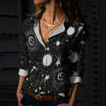 Solar System Cotton And Linen Casual Shirt QA240207