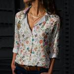 Butterflies And Flower Cotton And Linen Casual Shirt KH240209