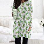 Dinosaur - Easter Pocket Long Top Women Blouse KH240204