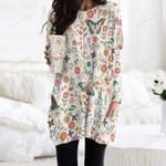 Butterflies And Flower Pocket Long Top Women Blouse KH240209