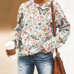 Butterflies And Flower Unisex All Over Print Cotton Sweatshirt KH240209