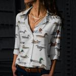 Ducks, Geese And Swans Cotton And Linen Casual Shirt QA250204