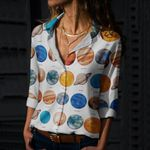 Solar System Planet Cotton And Linen Casual Shirt QA250210