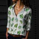 Tropical Leaves - Gardening Cotton And Linen Casual Shirt KH250208