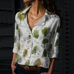 Woodland Tree - Gardening Cotton And Linen Casual Shirt KH250211