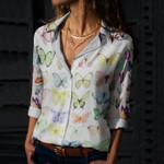 Butterflies Cotton And Linen Casual Shirt KH250215