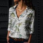 Dinosaur Facts Cotton And Linen Casual Shirt QA230203