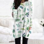 Watercolour Leaves - Gardening Pocket Long Top Women Blouse KH250204