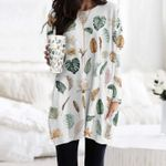 Watercolour Leaves - Gardening Pocket Long Top Women Blouse KH250207