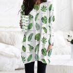 Tropical Leaves - Gardening Pocket Long Top Women Blouse KH250208