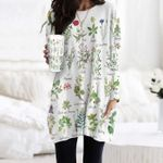 Meadow Flower - Gardening Pocket Long Top Women Blouse KH250210