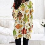 Autumn Leaf - Gardening Pocket Long Top Women Blouse KH250212