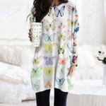 Butterflies Pocket Long Top Women Blouse KH250215