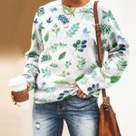 Watercolour Leaves - Gardening Unisex All Over Print Cotton Sweatshirt KH250204