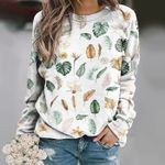 Watercolour Leaves - Gardening Unisex All Over Print Cotton Sweatshirt KH250207